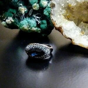 Jewelry - Fabulous Blue Glass Crystal Stainless Ring